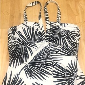 One piece black and white bathing suit